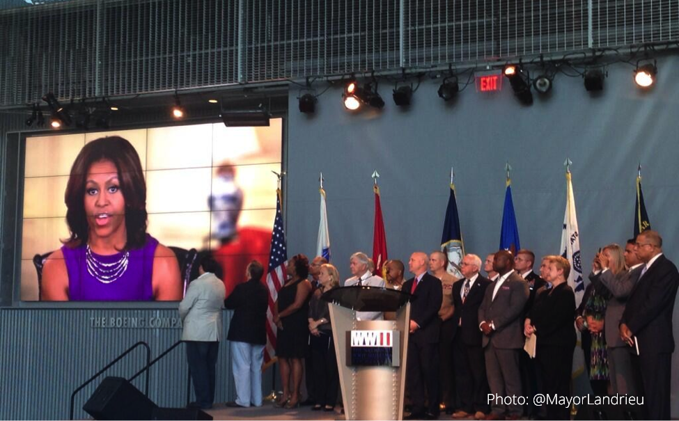 first lady michelle obama new orleans mayor mitch landrieu announce ambitious goal to end veteran homelessness in new orleans