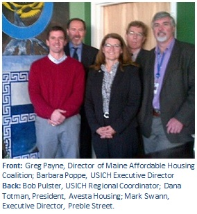 Front: Greg Payne, Director of Maine Affordable Housing Coalition; Barbara Poppe, USICH Executive Director  Back: Bob Pulster, USICH Regional Coordinator; Dana Totman, President, Avesta Housing; Mark Swann, Executive Director, Preble Street.